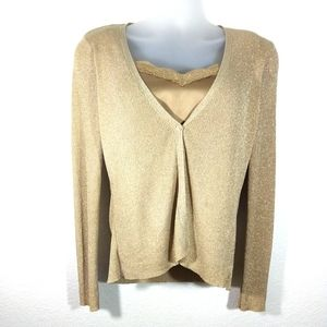 August Silk Knit Gold Cami Cardigan Sweate…